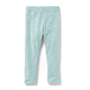 NWT Mint With Silver Unicorns Printed Leggings 2T